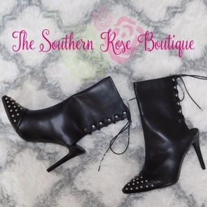 Mackin J Shoes - New! Black Studded Stiletto Booties